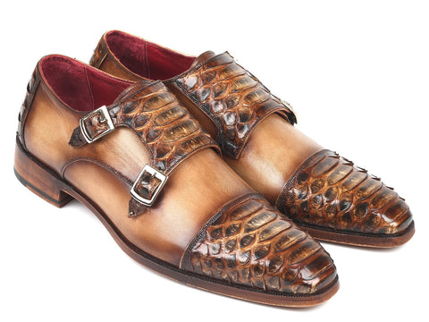 Paul Parkman Genuine Python & Calfskin Monk Straps Light Brown
