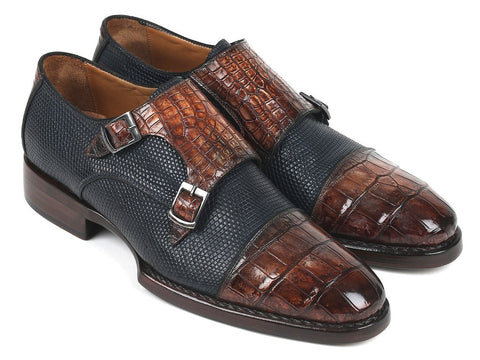 Paul Parkman Genuine Crocodile & Iguana Double Monk Strap Navy Brown Handmade Shoes - foodgles-supermarkets