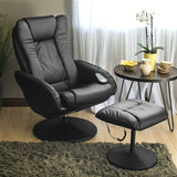 Sturdy Black or Brown Faux Leather Electric Massage Recliner Chair w/ Ottoman - foodgles-supermarkets