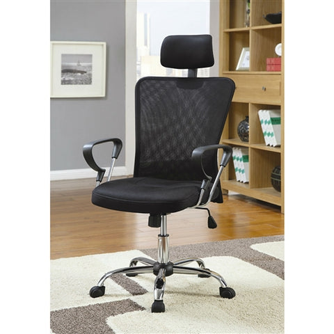 High Back Executive Mesh Office Computer Chair with Headrest in Black - foodgles-supermarkets
