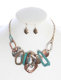 "18"" Long Hammered Patina Metal Necklace Set - foodgles-supermarkets"