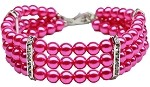 Beautiful Bright Pink Pearls & Rhinestone Dog Necklace - foodgles-supermarkets