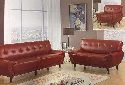 Contemporary Red Leather Living Room Set - foodgles-supermarkets