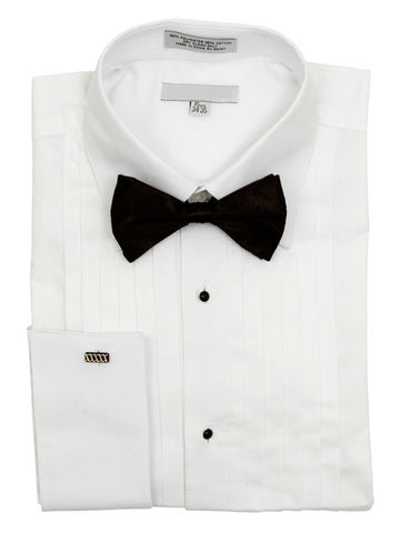 Pointed Collar and Half Inch Pleat French Cuff Tuxedo Shirt w/Bow Tie - foodgles-supermarkets