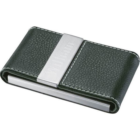 Timeless Black Leather & Metal Business Card Case - foodgles-supermarkets
