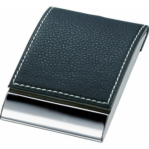 Black Leather & Metal Business Card Case - foodgles-supermarkets