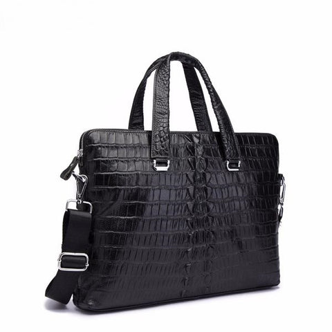 Genuine Black Leather Crocodile Embossed Briefcase - foodgles-supermarkets