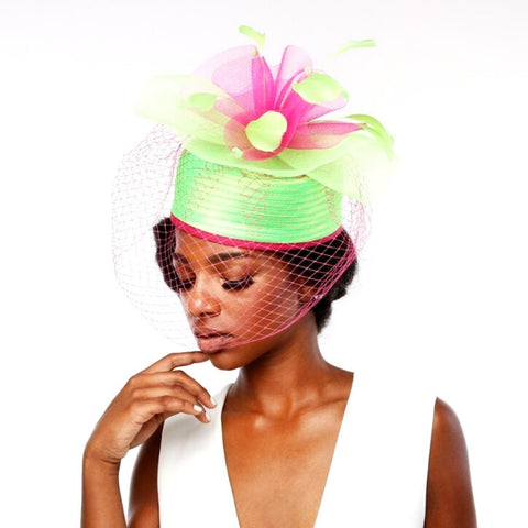 Soror Fashion Pink & Green Pillbox Hat With Veil