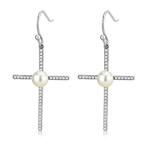 High polished Stainless Steel Cross Earrings With Synthetic White Pearls - foodgles-supermarkets