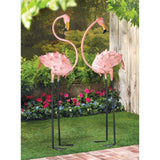 Life-Sized Wrought Iron Flamboyant Flamingo Sculptures - foodgles-supermarkets