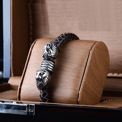 Men's 316L Stainless Steel & Leather Lion Head Braided Bracelet - foodgles-supermarkets