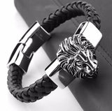Leather & Silver 316L Stainless Steel Lion Head Bracelet - foodgles-supermarkets