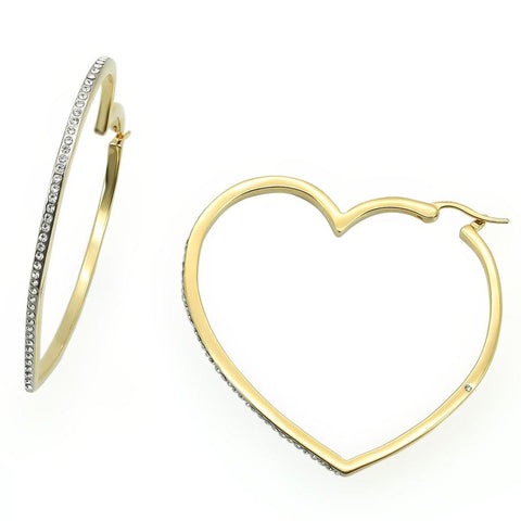 Rhinestone Heart Shaped Hoops - foodgles-supermarkets