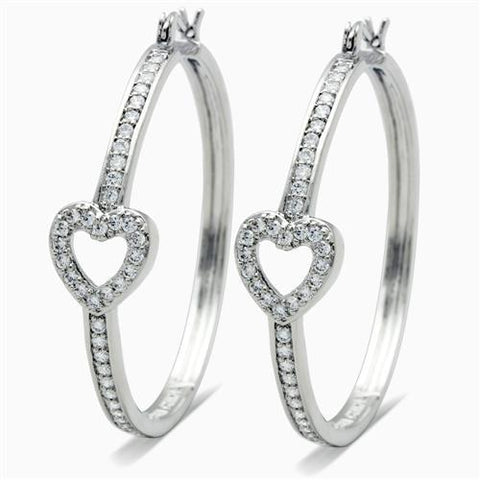 Rhodium & Pave CZ Heart Hoops - foodgles-supermarkets
