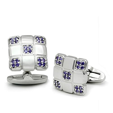 Men's Rhodium & Amethyst Cufflinks - foodgles-supermarkets