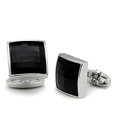 Men's Rhodium & Black Glass Cufflinks - foodgles-supermarkets
