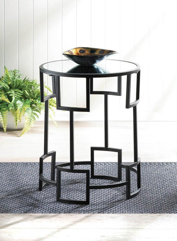 Modern Geometric Iron & Mirror Side Table - foodgles-supermarkets