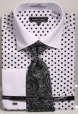 Avanti Uomo Polka Dot French Cuff Shirt - foodgles-supermarkets