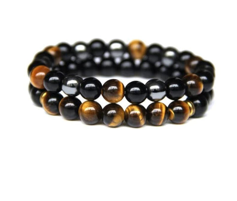 2 Piece Natural Magnetic Hematite, Black Onyx, Tiger Eye Bracelet - foodgles-supermarkets