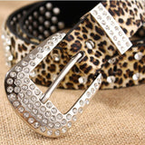 Beautiful Leopard Leather Rhinestone Studded Belt - foodgles-supermarkets