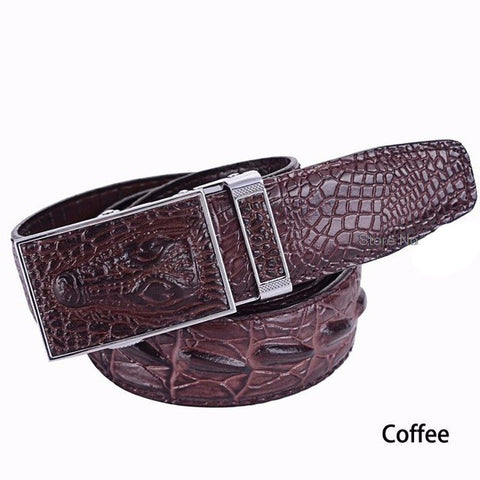 Luxury Genuine Leather Crocodile Belt - foodgles-supermarkets