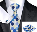 Men's 100% Silk Tie Hankie Cufflink Set - foodgles-supermarkets