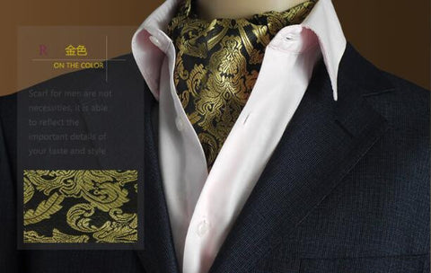 Men's Luxury Duplex Jacquard Silk Scarf + Hankie - foodgles-supermarkets