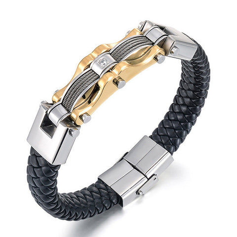 Stainless Steel Leather Silver & Gold Men's Bracelet - foodgles-supermarkets