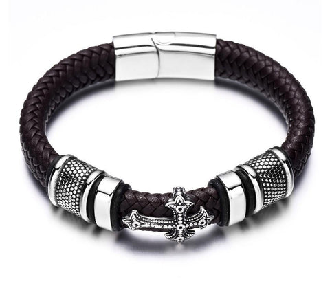 Trendy 12mm Braided Leather & 316L Stainless Steel Bracelet - foodgles-supermarkets