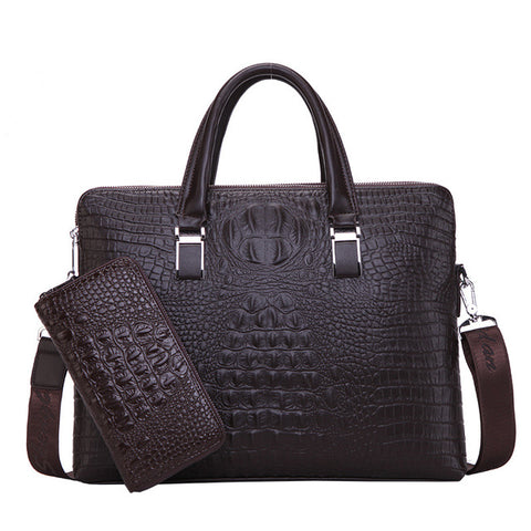 Men's Casual Crocodile Embossed Briefcase With or Without Wallet - foodgles-supermarkets