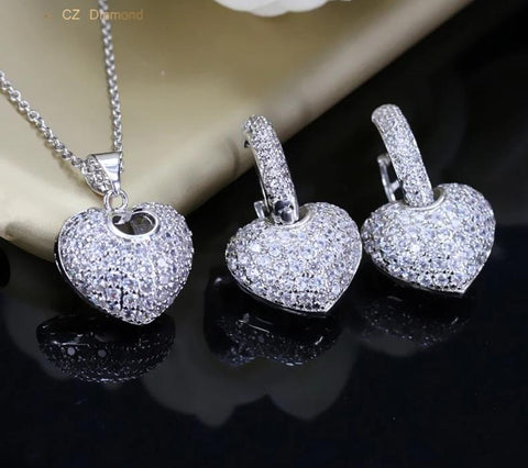 AAA+ CZ Micro Pave Heart Shape Necklace And Earrings Set - foodgles-supermarkets