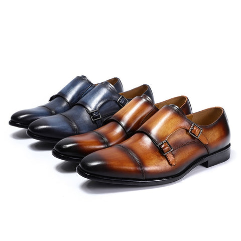 Handmade Genuine Leather Monk Strap Dress Shoes - foodgles-supermarkets