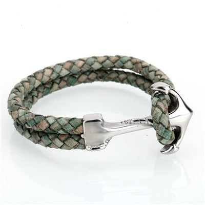 Leather/Stainless Steel Anchor Bracelet - foodgles-supermarkets