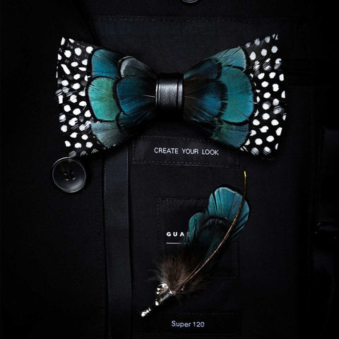 Exquisite Hand Made Feather Bow Tie/Pin Set - foodgles-supermarkets