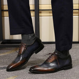 2-Tone Brown/Blue Leather Modern Wingtip Oxford Shoe - foodgles-supermarkets