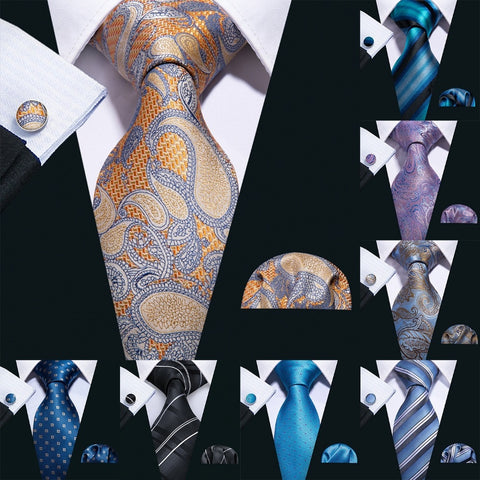 3 Piece 100% Silk Paisley Tie Set - foodgles-supermarkets