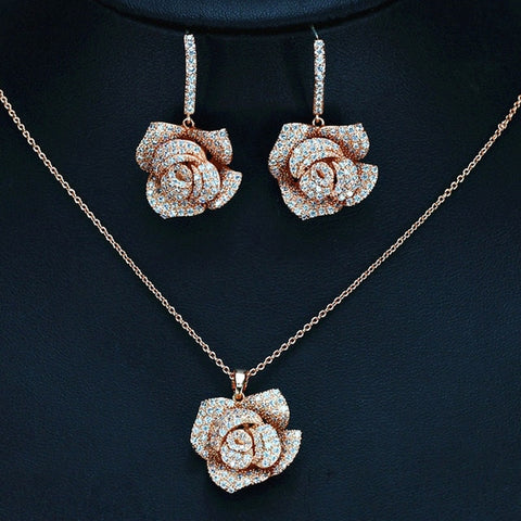 Romantic CZ Rose Earring And Necklace Set - foodgles-supermarkets