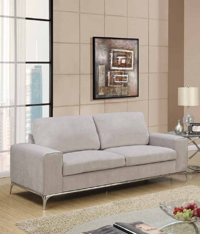 Contemporary 3 Piece Silver Grey Microfiber Sofa Set ...