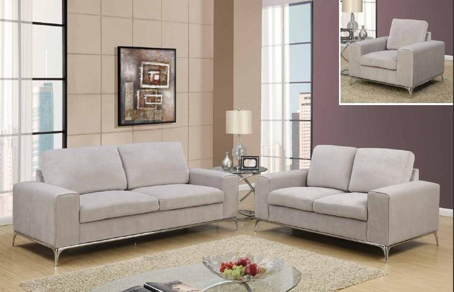 Contemporary 3 Piece Silver Grey Microfiber Sofa Set Foodgles