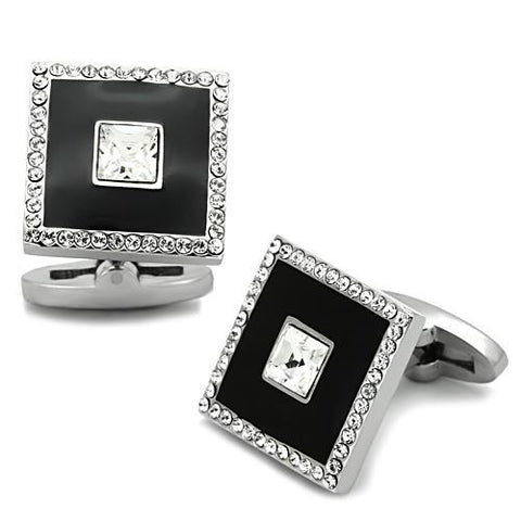 High Polished Stainless Steel & Rhinestone Cufflinks