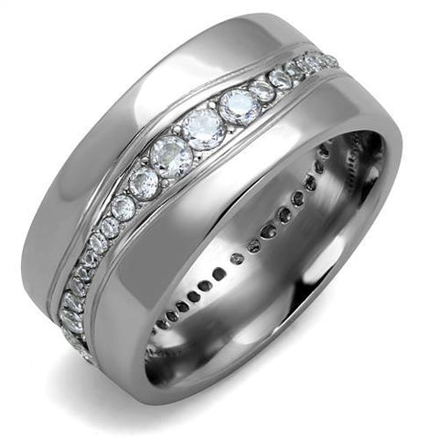 Men's Stainless Steel & CZ Infinity Wedding Band - foodgles-supermarkets