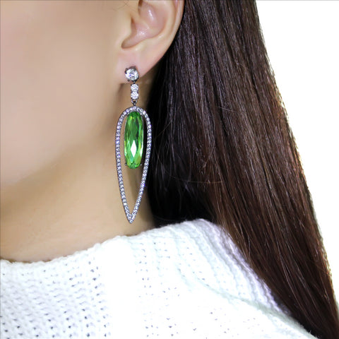 Beautiful Stainless Steel Peridot & Rhinestone Earrings - foodgles-supermarkets