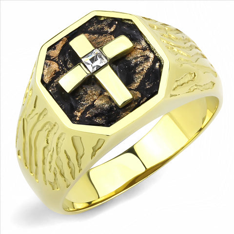 Men's Gold Stainless Steel Cross Ring