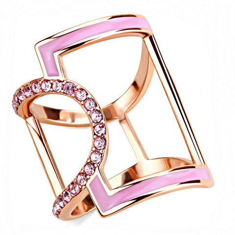 Rose Gold & Pink Rhinestone Stainless Steel Ring - foodgles-supermarkets