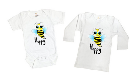 Bee Happy Inspirational Tee Shirt or Bodysuit
