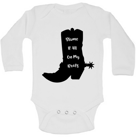 Blame It All On My Roots Funny Baby Bodysuit Onesie
