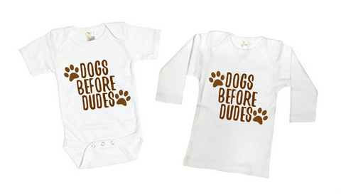 Dogs Before Dude Funny Tee Shirt or Bodysuit