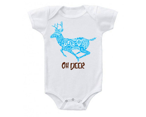 Oh Deer I'm Here Cute and Funny Baby Bodysuit