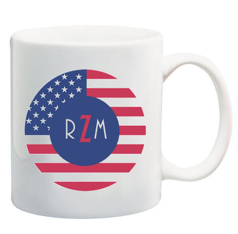 Patriotic American Flag Monogram Coffee Mug
