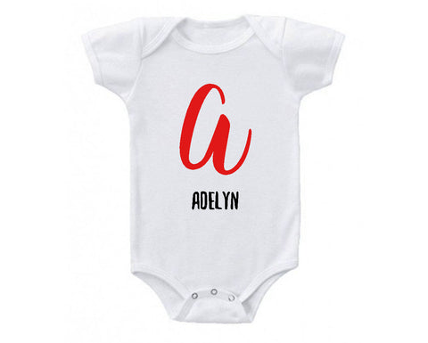 Personalized Custom Monogram and Name Baby Bodysuit